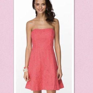 Lilly Pulitzer Vicki Strapless Coral Crochet Dress